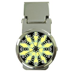 Yellow Snowflake Icon Graphic On Black Background Money Clip Watches by Nexatart