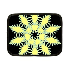 Yellow Snowflake Icon Graphic On Black Background Netbook Case (small)