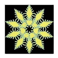Yellow Snowflake Icon Graphic On Black Background Face Towel