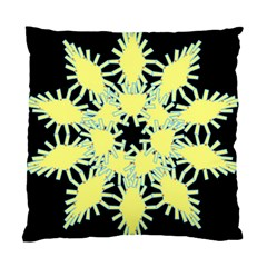 Yellow Snowflake Icon Graphic On Black Background Standard Cushion Case (two Sides) by Nexatart