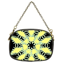 Yellow Snowflake Icon Graphic On Black Background Chain Purses (two Sides)  by Nexatart
