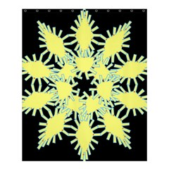 Yellow Snowflake Icon Graphic On Black Background Shower Curtain 60  X 72  (medium)  by Nexatart