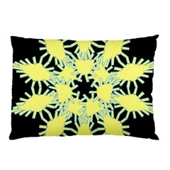 Yellow Snowflake Icon Graphic On Black Background Pillow Case (two Sides) by Nexatart