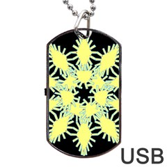 Yellow Snowflake Icon Graphic On Black Background Dog Tag Usb Flash (one Side) by Nexatart