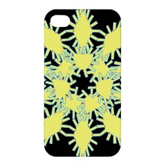 Yellow Snowflake Icon Graphic On Black Background Apple Iphone 4/4s Hardshell Case by Nexatart