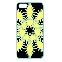 Yellow Snowflake Icon Graphic On Black Background Apple Seamless Iphone 5 Case (color) by Nexatart