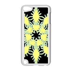 Yellow Snowflake Icon Graphic On Black Background Apple Ipod Touch 5 Case (white) by Nexatart