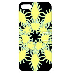 Yellow Snowflake Icon Graphic On Black Background Apple Iphone 5 Hardshell Case With Stand by Nexatart