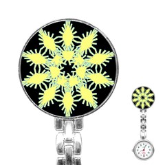 Yellow Snowflake Icon Graphic On Black Background Stainless Steel Nurses Watch
