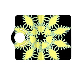 Yellow Snowflake Icon Graphic On Black Background Kindle Fire Hd (2013) Flip 360 Case by Nexatart