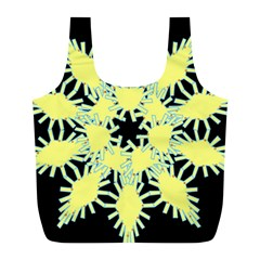 Yellow Snowflake Icon Graphic On Black Background Full Print Recycle Bags (l)