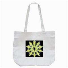 Yellow Snowflake Icon Graphic On Black Background Tote Bag (white)