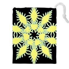 Yellow Snowflake Icon Graphic On Black Background Drawstring Pouches (xxl) by Nexatart