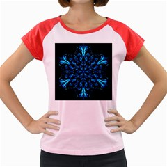 Blue Snowflake On Black Background Women s Cap Sleeve T Shirt