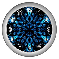 Blue Snowflake On Black Background Wall Clocks (silver)  by Nexatart