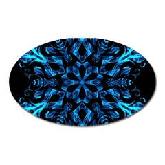 Blue Snowflake On Black Background Oval Magnet by Nexatart