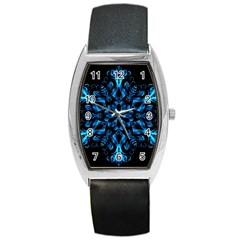 Blue Snowflake On Black Background Barrel Style Metal Watch by Nexatart