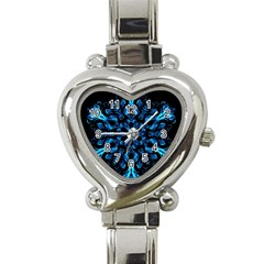 Blue Snowflake On Black Background Heart Italian Charm Watch