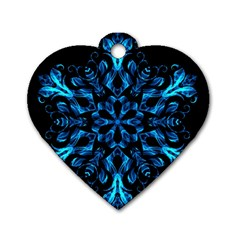 Blue Snowflake On Black Background Dog Tag Heart (one Side)