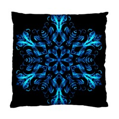 Blue Snowflake On Black Background Standard Cushion Case (two Sides) by Nexatart