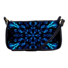 Blue Snowflake On Black Background Shoulder Clutch Bags by Nexatart