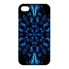 Blue Snowflake On Black Background Apple Iphone 4/4s Hardshell Case