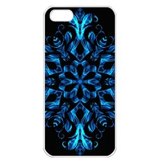 Blue Snowflake On Black Background Apple Iphone 5 Seamless Case (white)