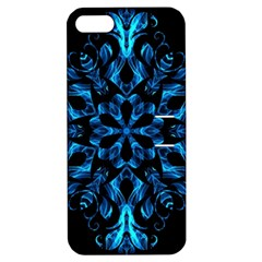 Blue Snowflake On Black Background Apple Iphone 5 Hardshell Case With Stand by Nexatart