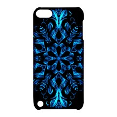 Blue Snowflake On Black Background Apple Ipod Touch 5 Hardshell Case With Stand