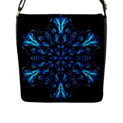 Blue Snowflake On Black Background Flap Messenger Bag (l)  by Nexatart