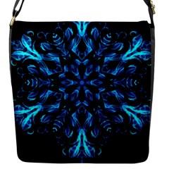 Blue Snowflake On Black Background Flap Messenger Bag (s)