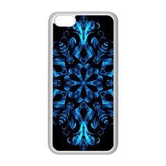 Blue Snowflake On Black Background Apple Iphone 5c Seamless Case (white) by Nexatart