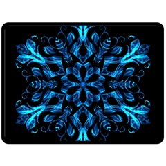 Blue Snowflake On Black Background Double Sided Fleece Blanket (large)  by Nexatart