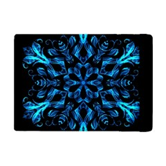 Blue Snowflake On Black Background Ipad Mini 2 Flip Cases