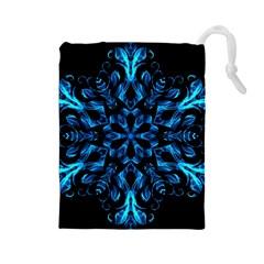 Blue Snowflake On Black Background Drawstring Pouches (large)  by Nexatart