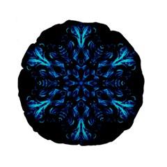 Blue Snowflake On Black Background Standard 15  Premium Flano Round Cushions by Nexatart