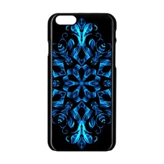 Blue Snowflake On Black Background Apple Iphone 6/6s Black Enamel Case