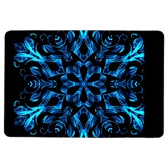 Blue Snowflake On Black Background Ipad Air 2 Flip