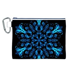 Blue Snowflake On Black Background Canvas Cosmetic Bag (l) by Nexatart