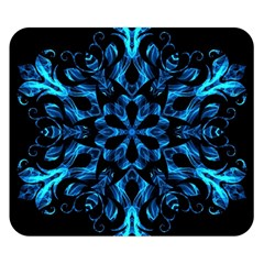 Blue Snowflake On Black Background Double Sided Flano Blanket (small)