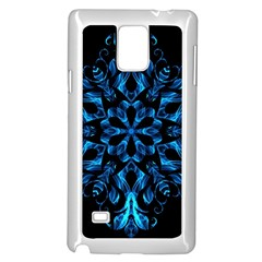 Blue Snowflake On Black Background Samsung Galaxy Note 4 Case (white)