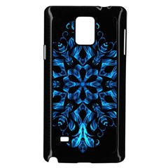 Blue Snowflake On Black Background Samsung Galaxy Note 4 Case (black)