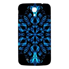 Blue Snowflake On Black Background Samsung Galaxy Mega I9200 Hardshell Back Case