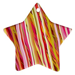Color Ribbons Background Wallpaper Ornament (star)