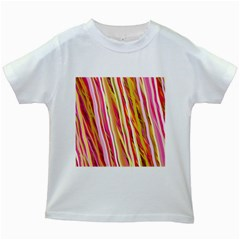 Color Ribbons Background Wallpaper Kids White T Shirts
