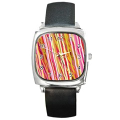 Color Ribbons Background Wallpaper Square Metal Watch by Nexatart