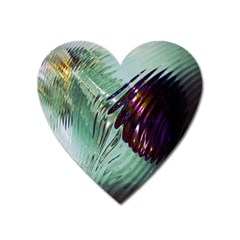 Out Of Time Glass Pearl Flowag Heart Magnet by Nexatart