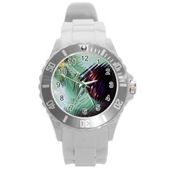 Out Of Time Glass Pearl Flowag Round Plastic Sport Watch (l)