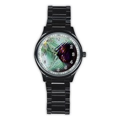 Out Of Time Glass Pearl Flowag Stainless Steel Round Watch