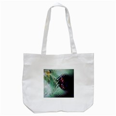 Out Of Time Glass Pearl Flowag Tote Bag (white) by Nexatart